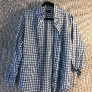 Calibrate Trim Fit blue&white checkered shirt
